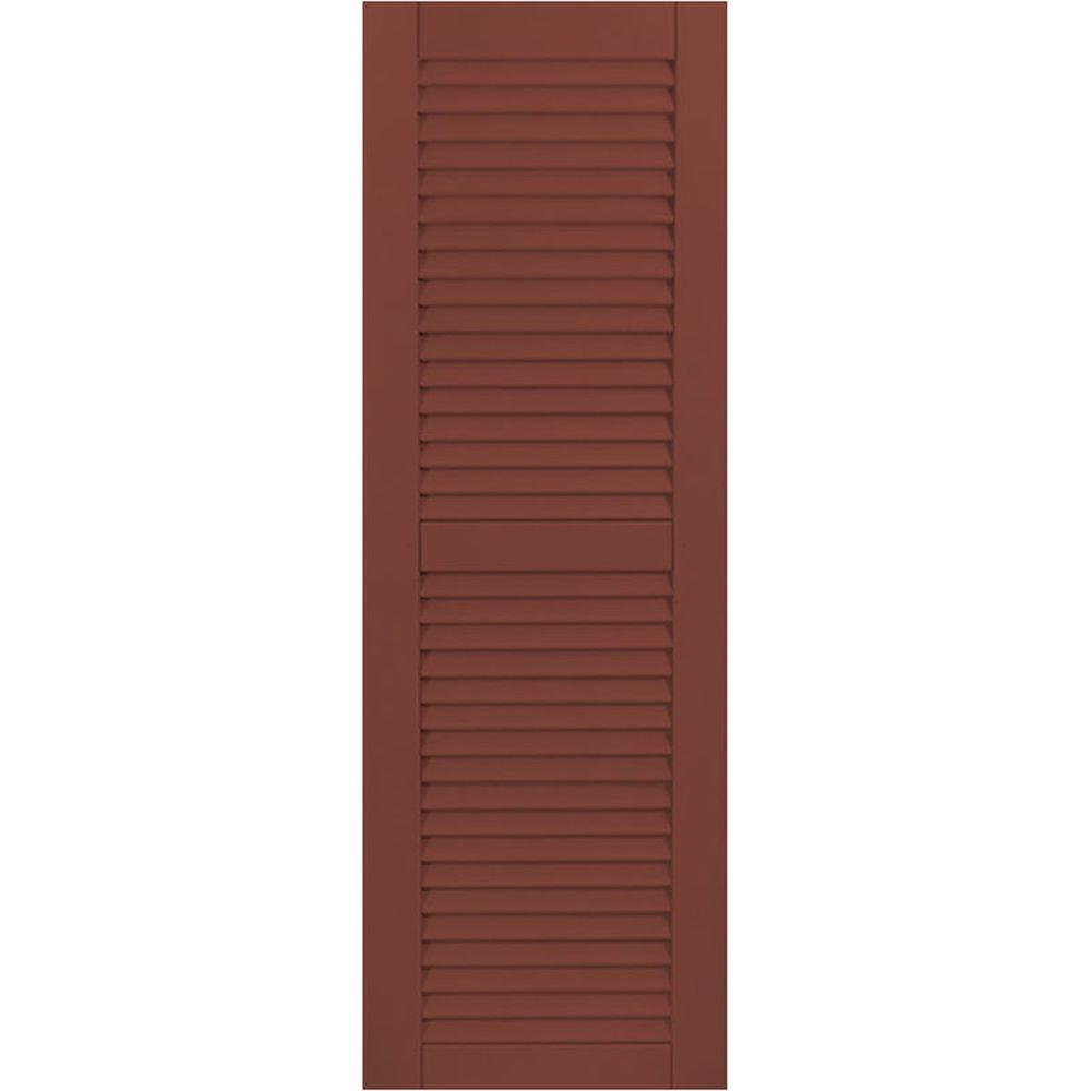 Ekena Millwork 18 in. x 28 in. Exterior Composite Wood Louvered Shutters Pair Country Redwood