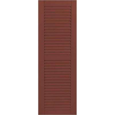 18 in. x 62 in. Exterior Composite Wood Louvered Shutters Pair Country Redwood