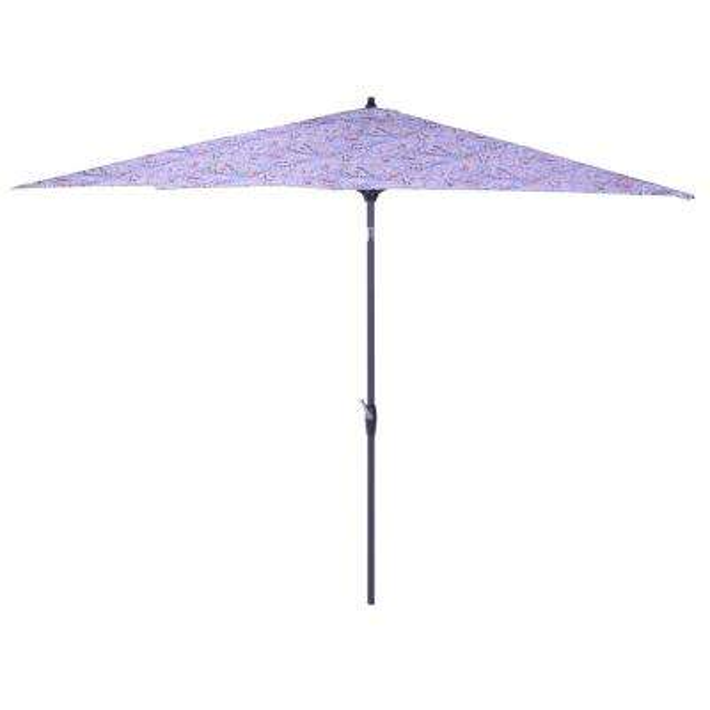 10 ft. x 6 ft. Aluminum Market Patio Umbrella in Denim Paisley with Push-Button Tilt