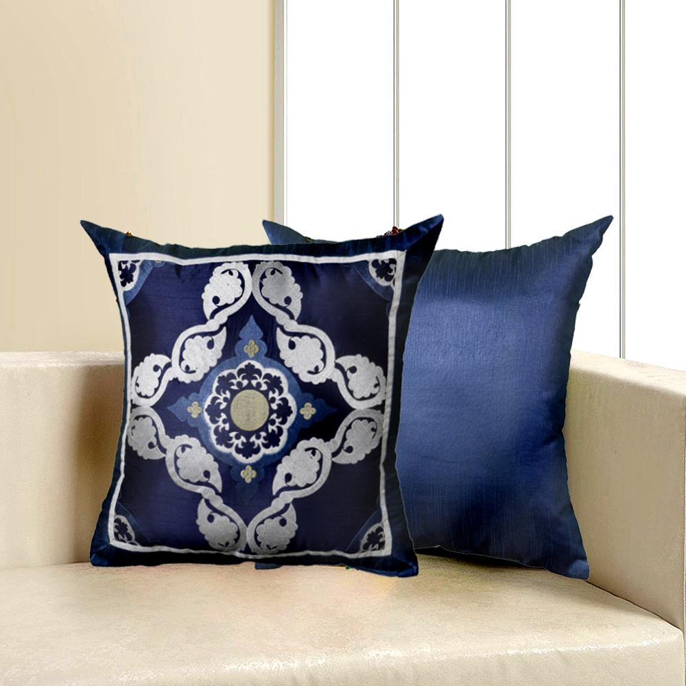 LR Resources Contemporary Blue 18 in. x 18 in. Square Decorative Indoor Accent Pillow