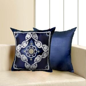 LR Resources Contemporary Blue 18 inch x 18 inch Square Decorative Indoor Accent Pillow by LR Resources