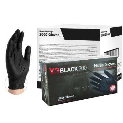 BX3D Black Nitrile Industrial Powder-Free Disposable Gloves (10-Boxes of 200-Count) - XLarge