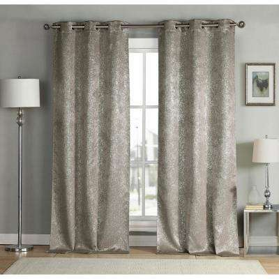 Maddie 96 in. L x 38 in. W Polyester Blackout Curtain Panel in Mouse (2-Pack)