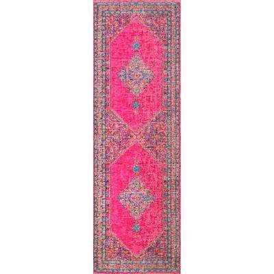 Vintage Medallion Dortha Pink 3 ft. x 8 ft. Runner Rug