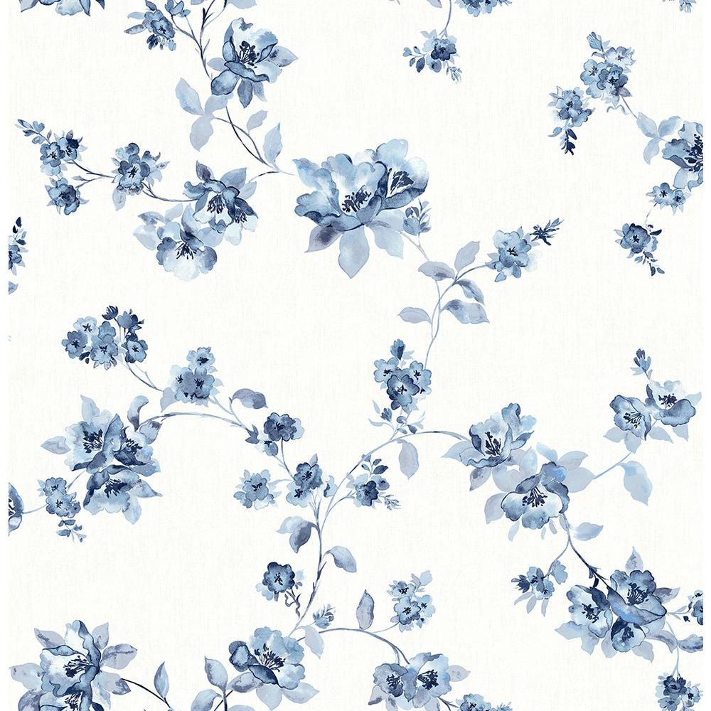 Chesapeake 8 In X 10 In Cyrus Blue Floral Wallpaper Sample 3115