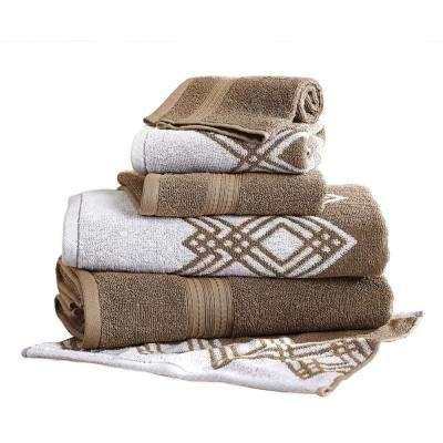 Popcorn Diamond 6-Piece Cotton Bath Towel Set in Mocha