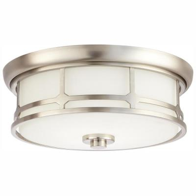 Portland Court 14 in. Brushed Nickel  LED Flush Mount Ceiling Light
