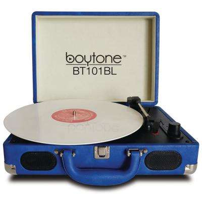 Exclusive Mobile Bluetooth Briefcase Turntable, Blue