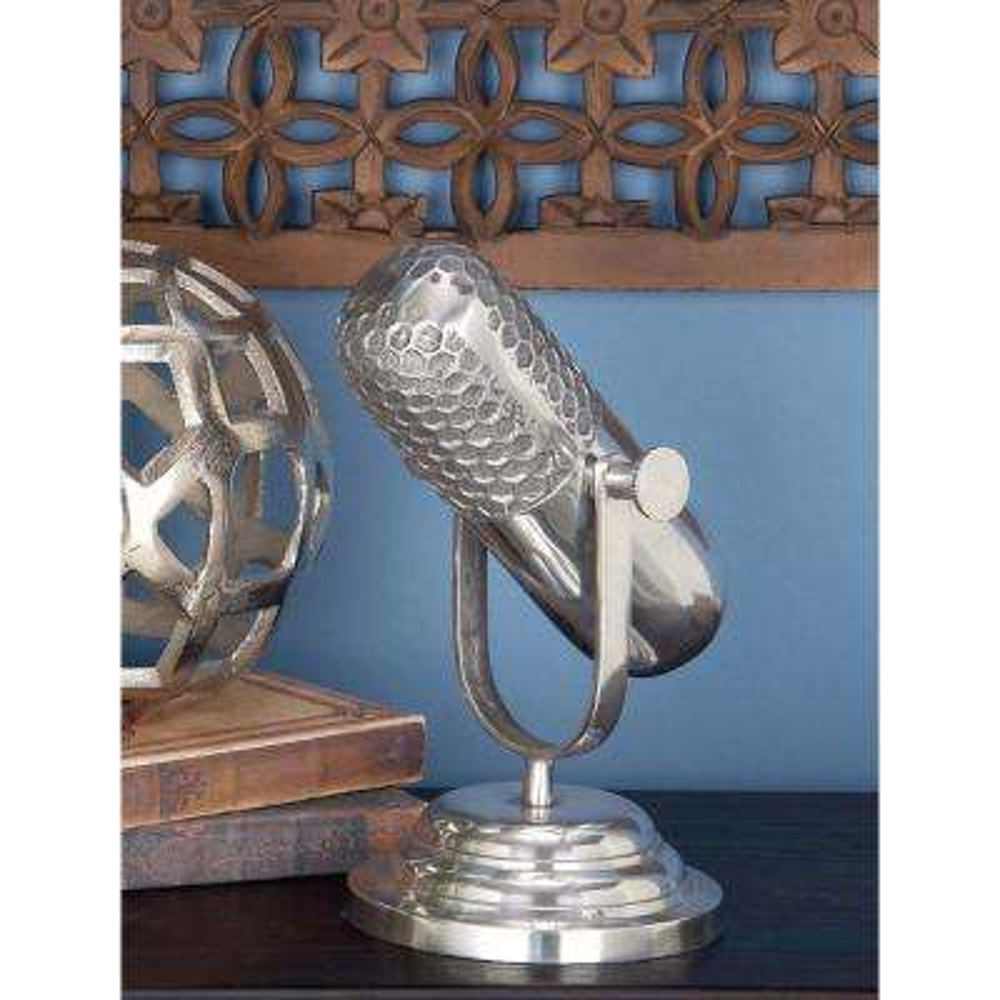 9 in. Classic Microphone Decorative Figurine in Aluminum Finish