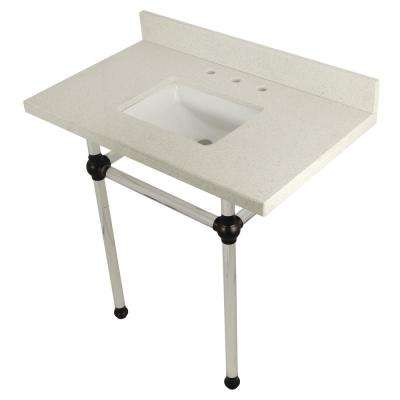 Square Sink Washstand 36 in. Console Table in White Quartz with Acrylic Legs in Oil Rubbed Bronze