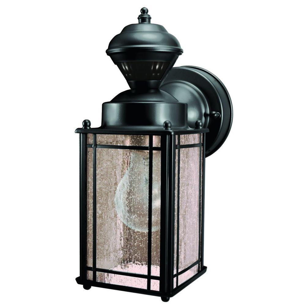 Heath Zenith Shaker Cove Mission 150 Black Motion Sensing Outdoor Lantern Hz 4135 Bk The Home Depot