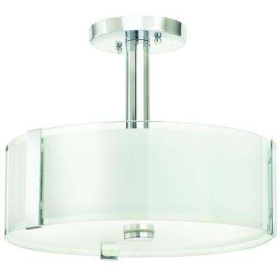 Bourland 14 in. 3-Light Polished Chrome Semi-Flushmount with Glass Drum Shade