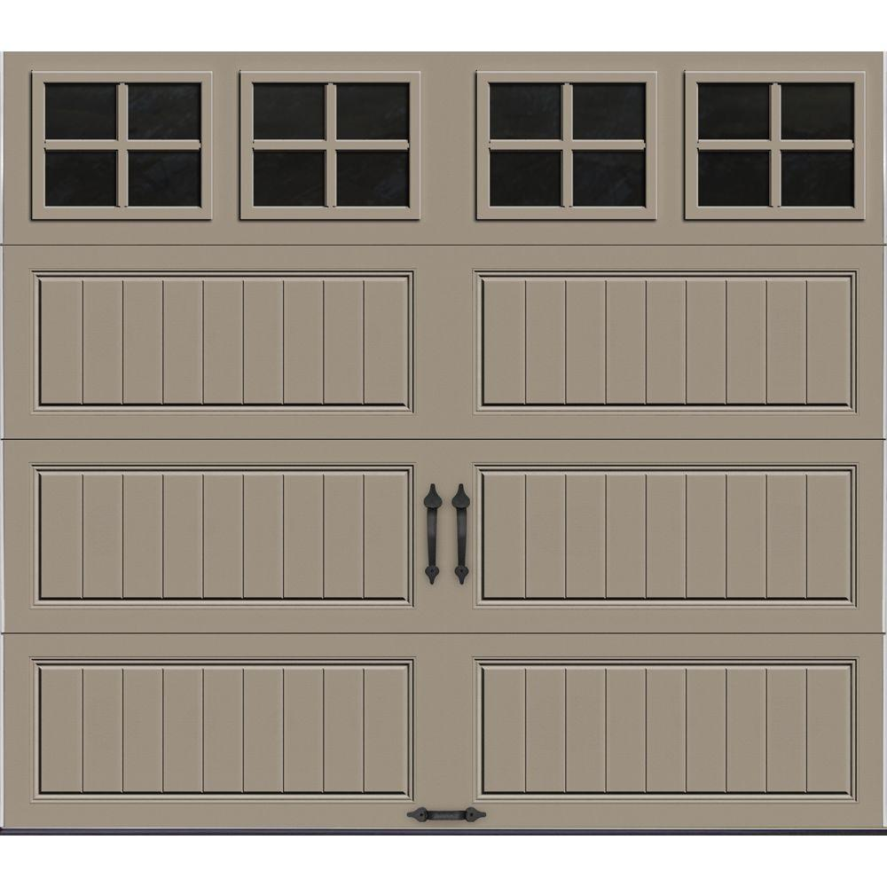 Clopay Gallery Collection 8 ft. x 7 ft. 18.4 R-Value Intellicore Insulated Sandtone Garage Door with SQ22 Window