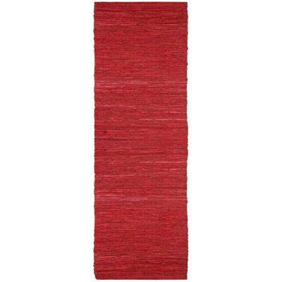 Red Leather 2 ft. 6 in. x 12 ft. Runner