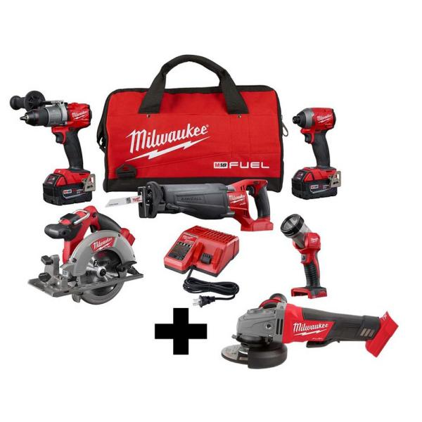 M18 FUEL 18-Volt Lithium-Ion Brushless Cordless Combo Kit (5-Tool) with M18 FUEL Grinder with Paddle Switch