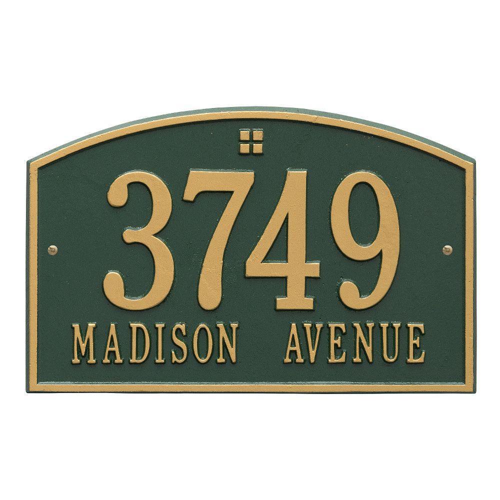 Cape Charles Standard Rectangular Green/Gold Wall 2-Line Address Plaque