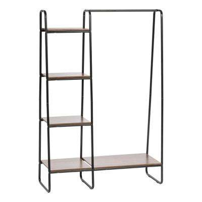 Black and Dark Brown Metal Garment Rack with Wood Shelves