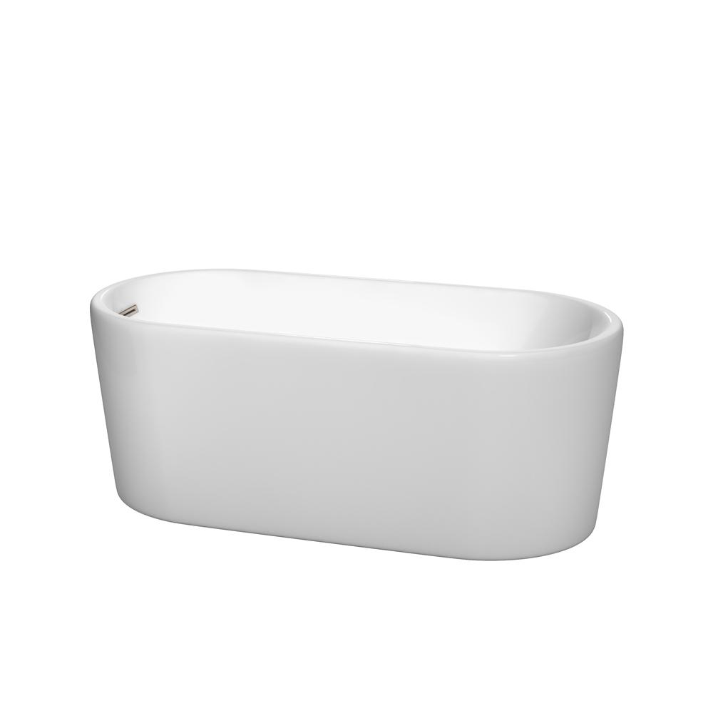 Wyndham Collection Ursula 4.9 ft. Acrylic Flatbottom Non-Whirlpool Bathtub in White with Brushed Nickel Trim