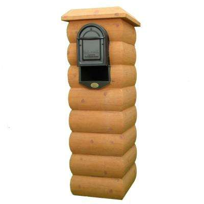 Natural Pine Mailbox Column with Medium Size Powder Coated Galvanized Steel Insert