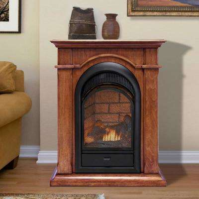 28 in. Ventless Dual Fuel Gas Fireplace in Apple Spice with Thermostat