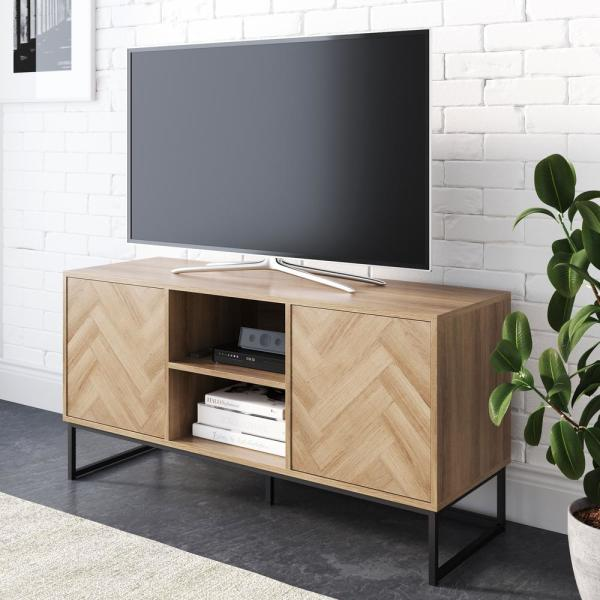 Dylan 47 in. Oak and Black Wood TV Stand Fits TVs Up to 55 in. with Storage Doors