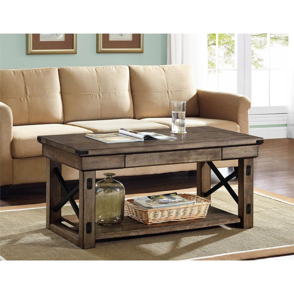 Wildwood Rustic Gray Coffee Table Espresso