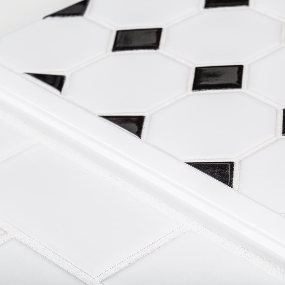 Allegro White Pencil 3/4 in. x 12 in. Ceramic Molding Tile