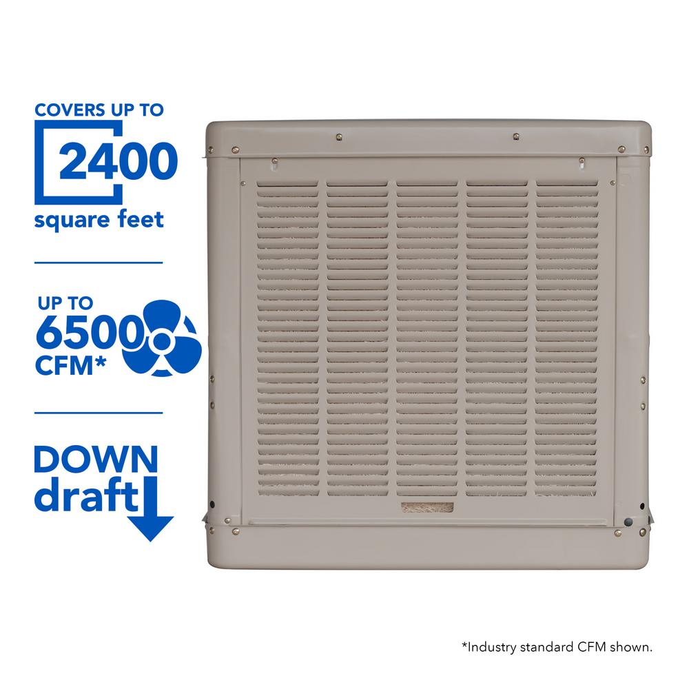 6500 CFM Down-Draft Roof Evaporative Cooler for 2400 sq. ft. (Motor
