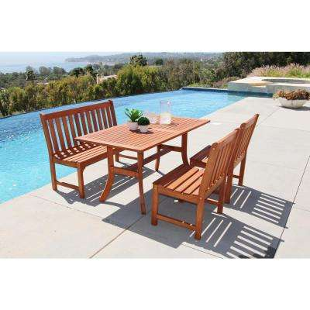 Malibu 4-Piece Wood Rectangle Outdoor Dining Set