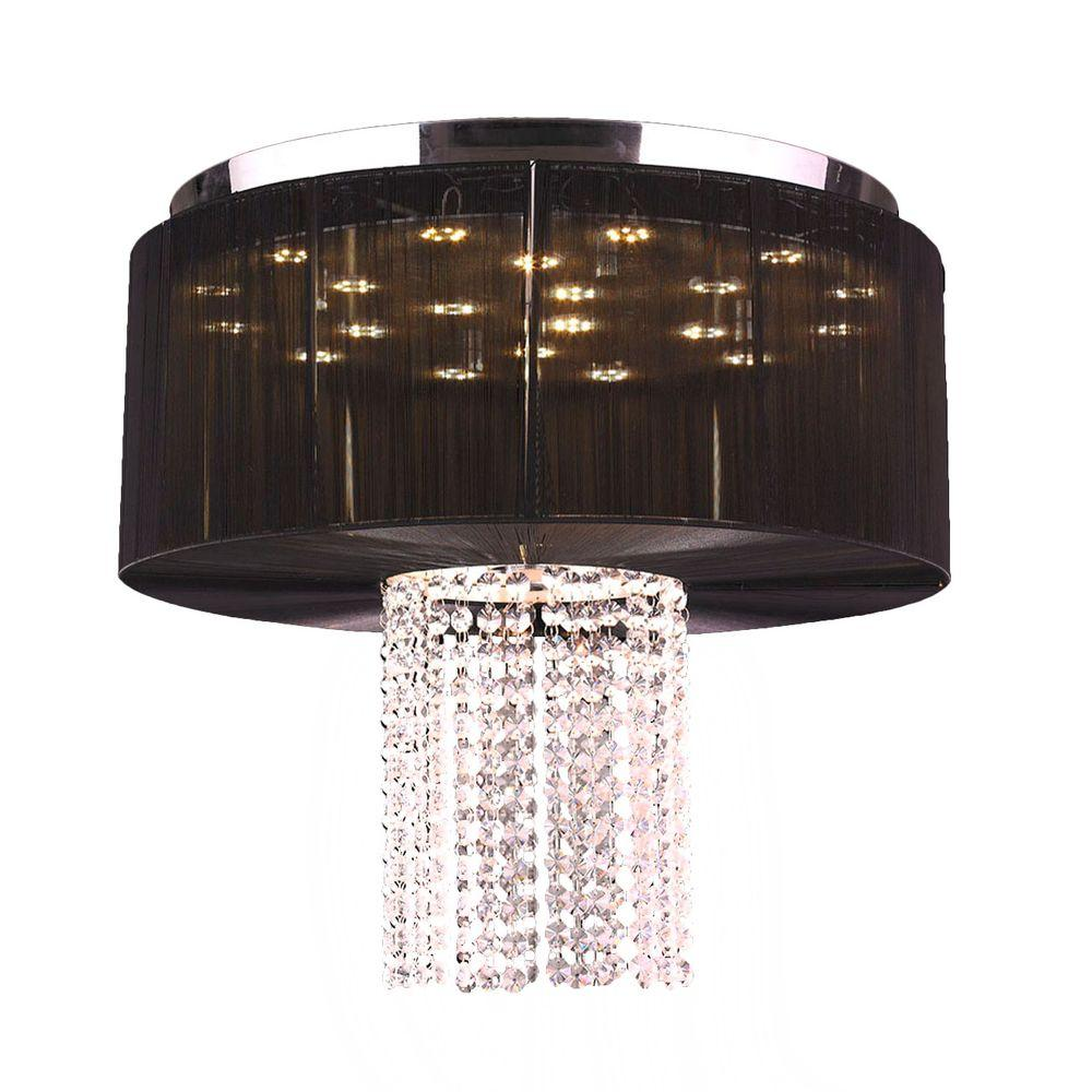 Alice 9-Light Chrome and Clear Crystal LED Flushmount with Black String