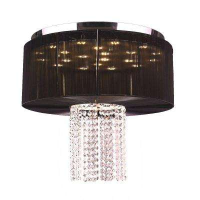 Alice 9-Light Chrome and Clear Crystal LED Flushmount with Black String Shade