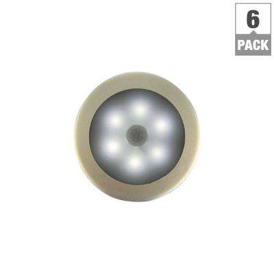Battery Powered Wireless Motion Sensing with Stick Anywhere Decorative LED White Night Light (6-Pack)