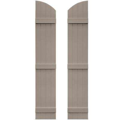 14 in. x 81 in. Board-N-Batten Shutters Pair, 4 Boards Joined with Arch Top #008 Clay