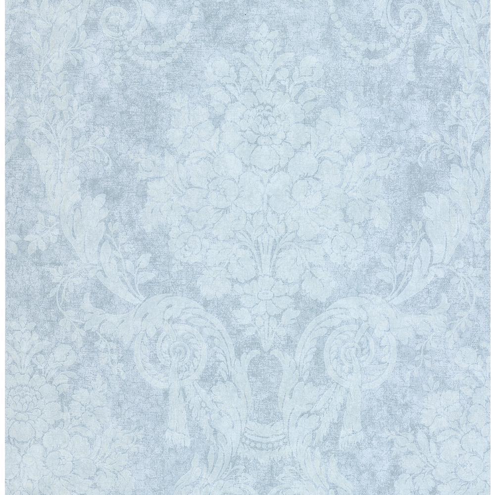 Olivia Blue Damask Wallpaper
