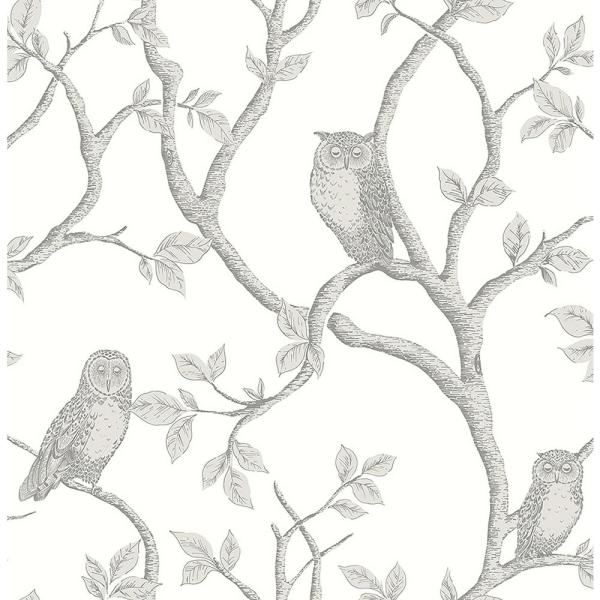 Brewster Enchanted Forest Grey Owl and Tree Wallpaper FD23289