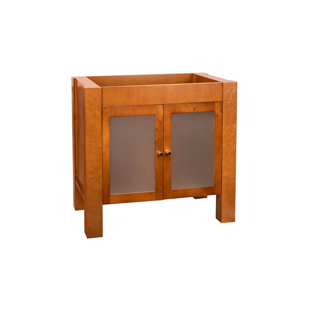 Ronbow Essentials Devon 31.75 in. W x 30 in. H Vanity Cabinet with Frosted Glass Doors in Cinnamon