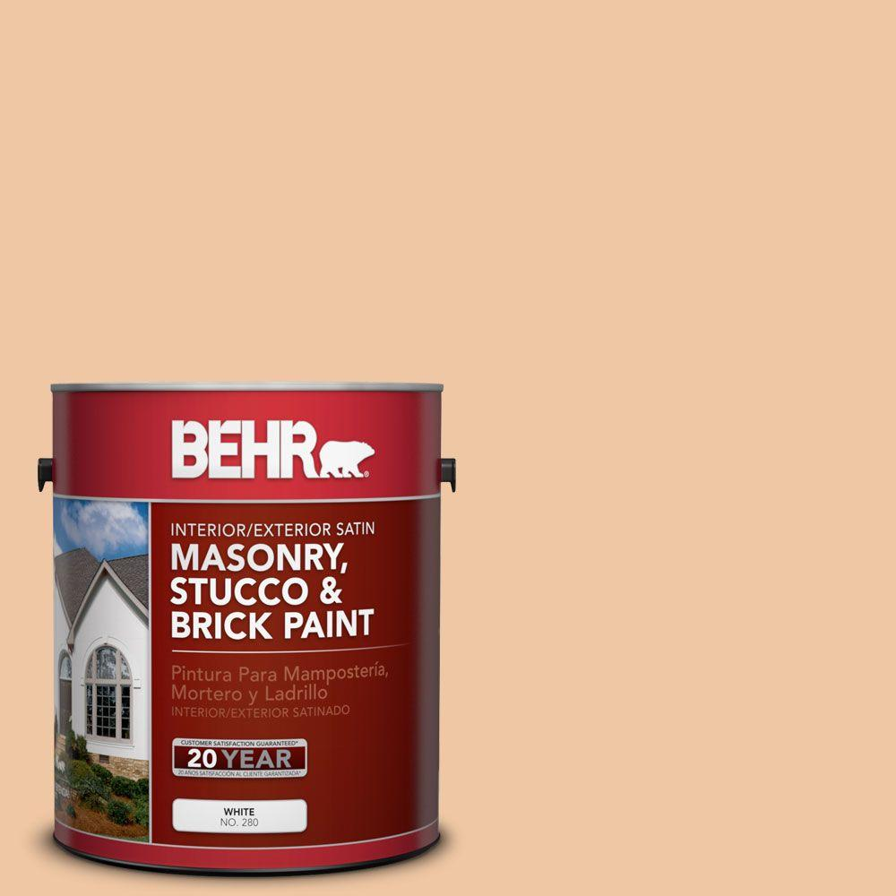 1-gal. #MS-15 California Peach Satin Interior/Exterior Masonry, Stucco and Brick