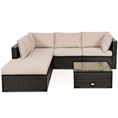 6-Piece Brown Wicker Outdoor Patio Rattan Furniture Set Sectional Sofa Ottoman with Beige Cushions