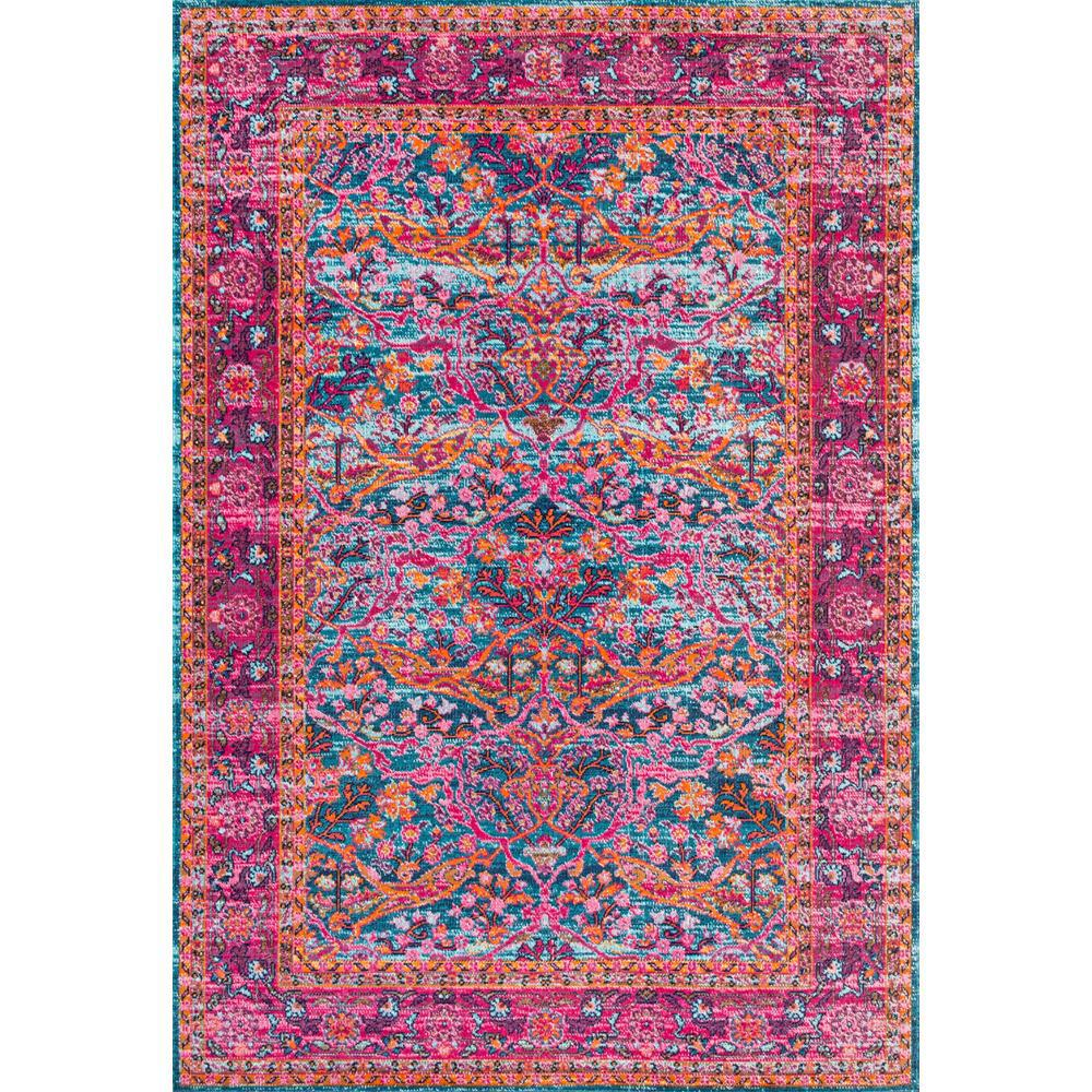 Shop Nuloom Traditional Persian Fancy Aqua Rug: NuLOOM Persian Floral Yoshie Pink 5 Ft. X 7 Ft. 5 In. Area