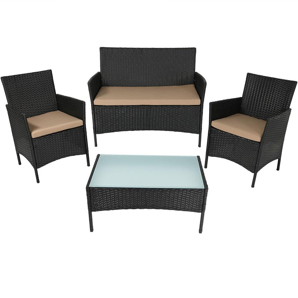 Enmore Rattan 4-Piece Wicker Patio Conversation Set with Tan Cushions