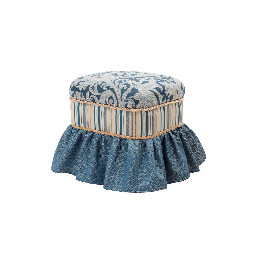 Dusty Blue Macy Ottoman