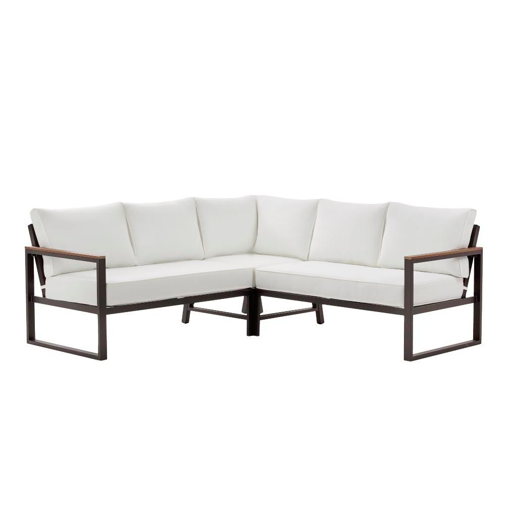 Wondrous Hampton Bay West Park Black Aluminum Outdoor Patio Sectional Sofa Seating Set With Standard White Cushions Forskolin Free Trial Chair Design Images Forskolin Free Trialorg
