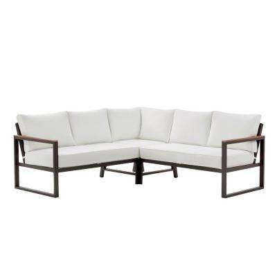West Park Black Aluminum Patio Sectional Seating Set with Cushions Included, Choose Your Own Color