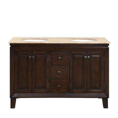 55 in. W x 22 in. D Vanity in Dark Walnut with Stone Vanity Top in Travertine with White Basin