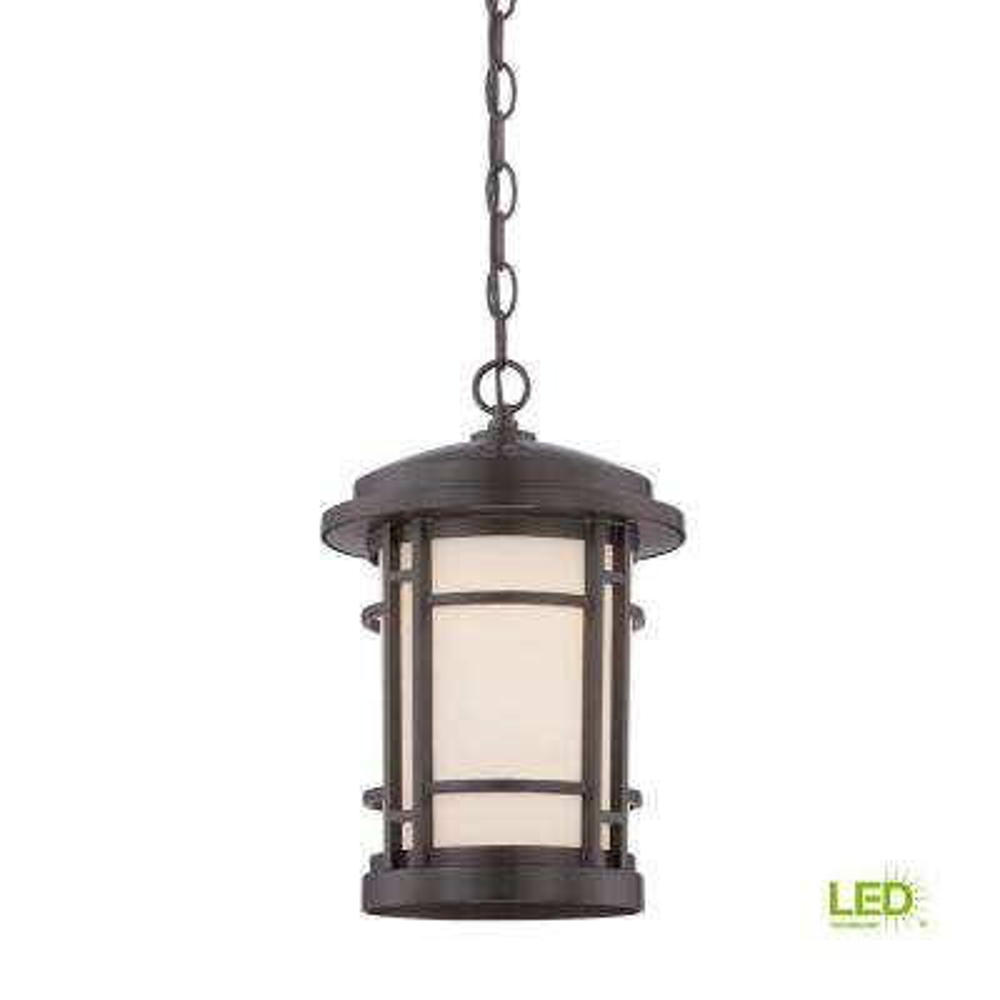 Barrister 9 in. Burnished Bronze LED Hanging Lantern