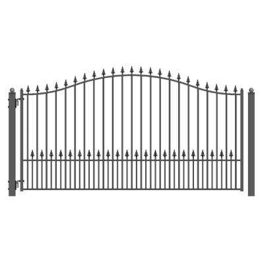 Munich Style 14 ft. x 6 ft. Black Steel Single Swing Driveway Fence Gate