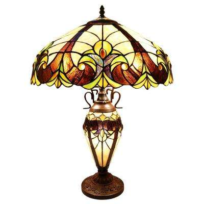 24.5 in. Multi-Colored Indoor Table Lamp with Stained Glass Halston Shade and Lit Base