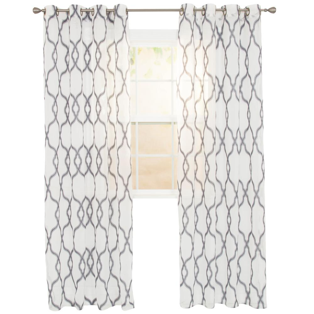 Lavish Home Sheer Elisa Charcoal Polyester Embroidered Curtain