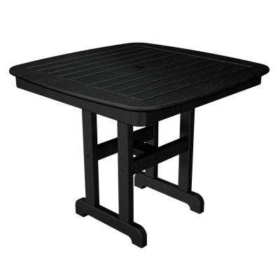 Nautical 37 in. Black Plastic Outdoor Patio Dining Table