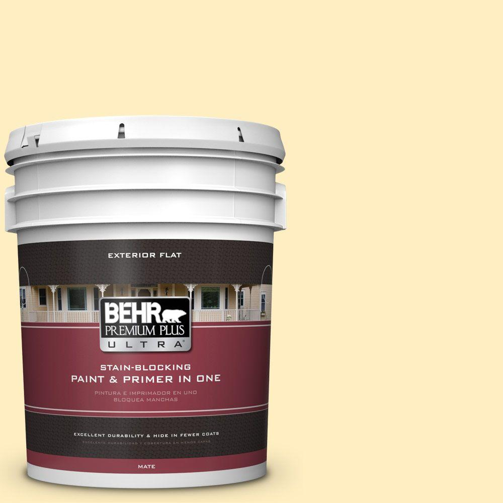 BEHR Premium Plus Ultra 5-gal. #380A-2 Moonlit Yellow Flat Exterior Paint